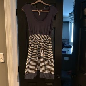 Little Yellow Button navy and white striped dress
